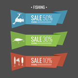 Set of  illustrations for sale Fishing tackle. In flat style.Fishing reels, hooks, bait. Vector elements. Icons and illustration for design, site, infographics Stock Photo
