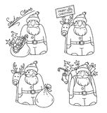 Set of illustrations with Santa Claus and reindeer, bag, Christmas tree, gifts and Christmas decorations. Sketches. Set of illustrations with Santa Claus and Royalty Free Stock Photos