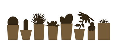 Set of  illustrations and silhouettes of flower pots with cacti and plants  Royalty Free Stock Photo