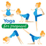 Set illustrations of simple yoga poses for pregnant woman Royalty Free Stock Images