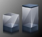 Set of illustrations of small and large cubes isolated on a gray background. Set of illustrations of small and large realistic, glass, transparent cubes stock illustration