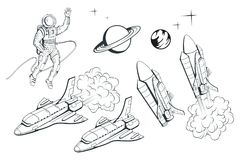 Set of illustrations on a space theme. Space shuttle. Hand drawn spaceship. Space travel through the Galaxy. Vector graphics to design royalty free illustration