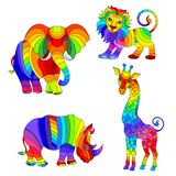 Set of stained glass illustrations with African animals, abstract rainbow elephant, giraffe, lion and Rhino, isolated on white. Set of illustrations with set of stock illustration