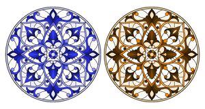 Stained glass illustration with round floral arrangements, blue and brown tone. Set of illustrations in stained glass style with round floral arrangements, blue vector illustration