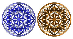 Stained glass illustration with round floral arrangements, blue and brown tone. Set of illustrations in stained glass style with round floral arrangements, blue stock illustration