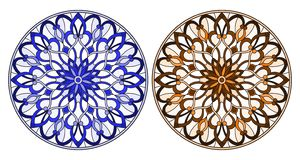 Stained glass illustration with round floral arrangements, blue and brown tone. Set of illustrations in stained glass style with round floral arrangements, blue royalty free illustration