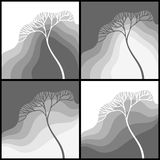 Set of illustrations with stylized tree Royalty Free Stock Images