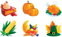 Set of illustrations for thanksgiving. Vector of Corn, pie, Turkey-cock, pumpkin. Cornucopia, hat and leaves. There are no meshes in this image Stock Photography