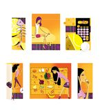 Set of 6 illustrations on the theme of diet and weight loss. Lemon and the skeleton of the fish. A thin long-legged brunette. Sits on the couch. Calorie vector illustration