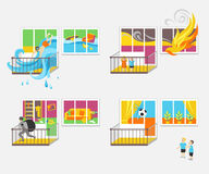 Set of illustrations on the theme of property insurance against accidents. Illustrations for design projects of insurance companies Royalty Free Stock Image