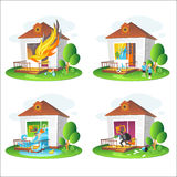 Set of illustrations on the theme of property insurance against accidents. Illustrations for design projects of insurance companies Stock Photography