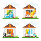 Set of illustrations on the theme of property insurance against accidents. Illustrations for design projects of insurance companies Stock Image