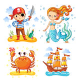 Set of illustrations on the theme sea and summer. stock illustration