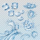 Set illustrations water splashes and flows with ice cubes Stock Image