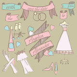 Set of illustrations for a wedding. Stock Photos
