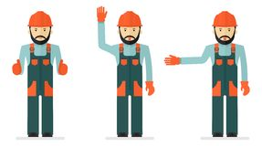 Set of illustrations with workers in overalls Stock Images