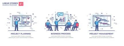 Set ilustraci pojęcie z biznesmenami Obieg, przyrost, grafika Rozwój biznesu, kamienie milowi liniowy Fotografia Royalty Free