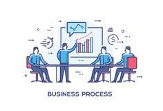 Set ilustraci pojęcie z biznesmenami Obieg, przyrost, grafika Rozwój biznesu, kamienie milowi liniowy Obrazy Stock