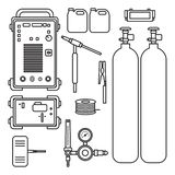 Set ilustracyjna benzynowego spawu argonu maszyna z regulator cysternową pochodnią ilustracji