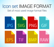 Set of image file type icons Royalty Free Stock Photography