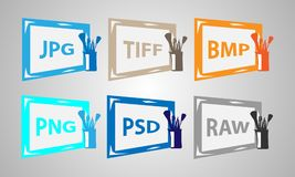 Set  image formats icons. Stock Photography