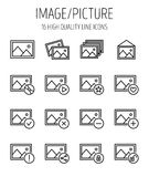 Set of image icons in modern thin line style. Stock Images