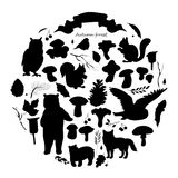 Set with the image of leaves, branches, berries, flowers, animals and birds, autumn elements, bear, squirrels, fox, owl. Black and white silhouette vector Royalty Free Stock Images