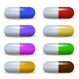 Set Image Multicolored Tablet Lying in a Two Row. Vector Realistic Illustration Diverse Actions Drug. Pills are Prescribed by Doctor Treating Disease royalty free illustration