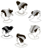 Set of images of ancient Greek women heads. Stock Photography