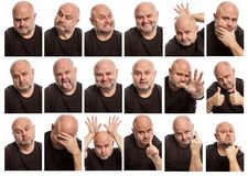 Set of images of a bald man with different emotions. Collage stock images