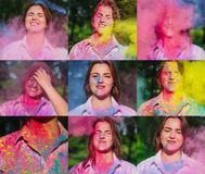 Set of images with beautiful brunette model posing with exploding colorful Holi powder around her. Set of images with beautiful brunette woman posing with stock photos