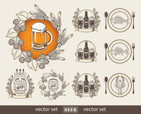 Set of images for a beer Royalty Free Stock Photos