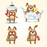 A set of images of cartoon dogs, who bathe and brush their teeth Royalty Free Stock Images