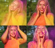Set of images with cheerful blonde girl posing covered purple Holi paint. Set of images with cheerful young woman posing covered purple Holi paint stock images