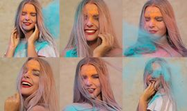 Set of images with cheerful blonde model posing with exploding blue Holi paint at the desert. Set of images with cheerful blonde woman posing with exploding blue royalty free stock photos