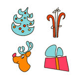 A set of images for the Christmas and New Year 2017. Eve. Xmas. Vector illustration Royalty Free Stock Image