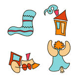 A set of images for the Christmas and New Year 2017. Eve. Xmas. Vector illustration. Holiday objects collection. Christmas theme with toy, train, cute angel Royalty Free Stock Photo