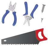 A set of images consisting of pliers, garden shears, screws and saws. Stock Photography
