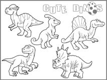Set of images of cute dinosaurs Stock Image