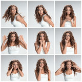 The  set from images of disgusted and disaffected woman Royalty Free Stock Photography