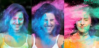 Set of images with expressive woman with purple hair celebrating. Set of images with expressive young women with purple hair celebrating Holi festival stock image