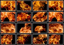 Set of images of a fiery flame of fire on a black background. Closeup Royalty Free Stock Image