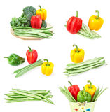 Set of images of fresh vegetables. Stock Photos