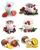 Set of images of fruit and yogurt with berries Royalty Free Stock Photo