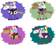 Set of images of funny family - mother, father, children on horse. EPS10 vector illustration. Set of images of funny family - mother, father, children on horse Royalty Free Stock Photo