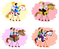 Set of images of funny family - mother, father, children on horse. EPS10 vector illustration. Set of images of funny family - mother, father, children on horse Stock Photos