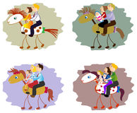 Set of images of funny family - mother, father, children on horse. EPS10 vector illustration. Set of images of funny family - mother, father, children on horse Royalty Free Stock Image