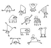 Set of images of funny sheep. Set of images of funny cute sheep painted pencil stock illustration