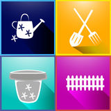 Set of images of garden tools, fence, flower pot. long shadow. Royalty Free Stock Photos
