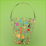 Set of images of garden vegetables placed into the shape of a bucket. Royalty Free Stock Photo